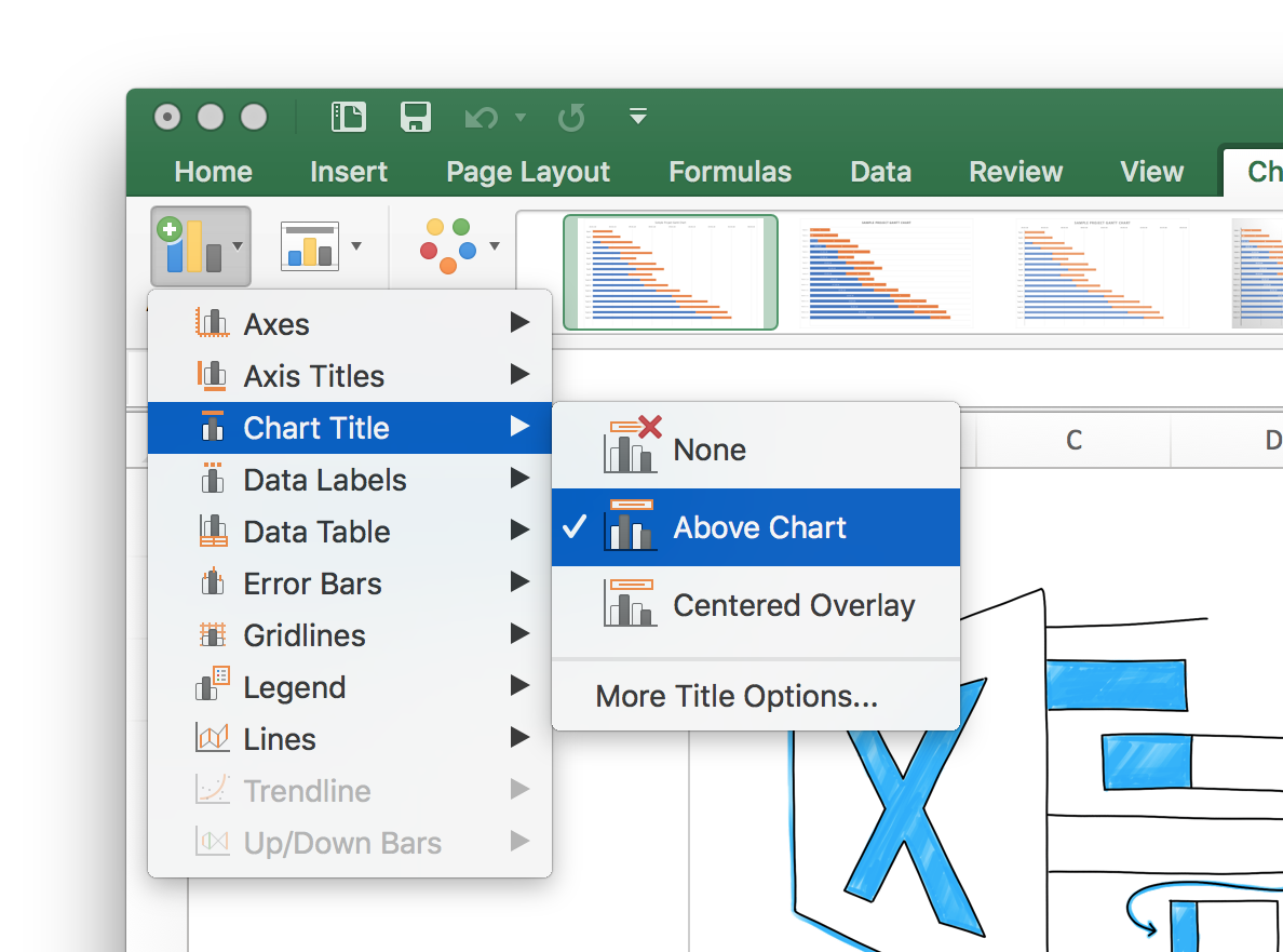 Excel Gantt Chart Screenshot of Chart Title