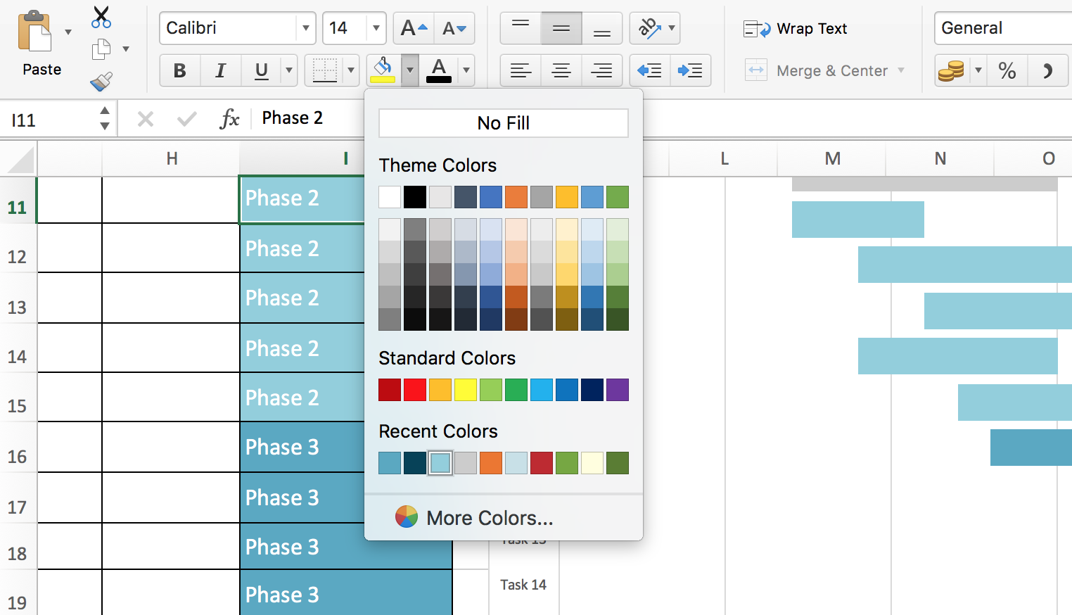 Excel Gantt Chart Screenshot Format Colors