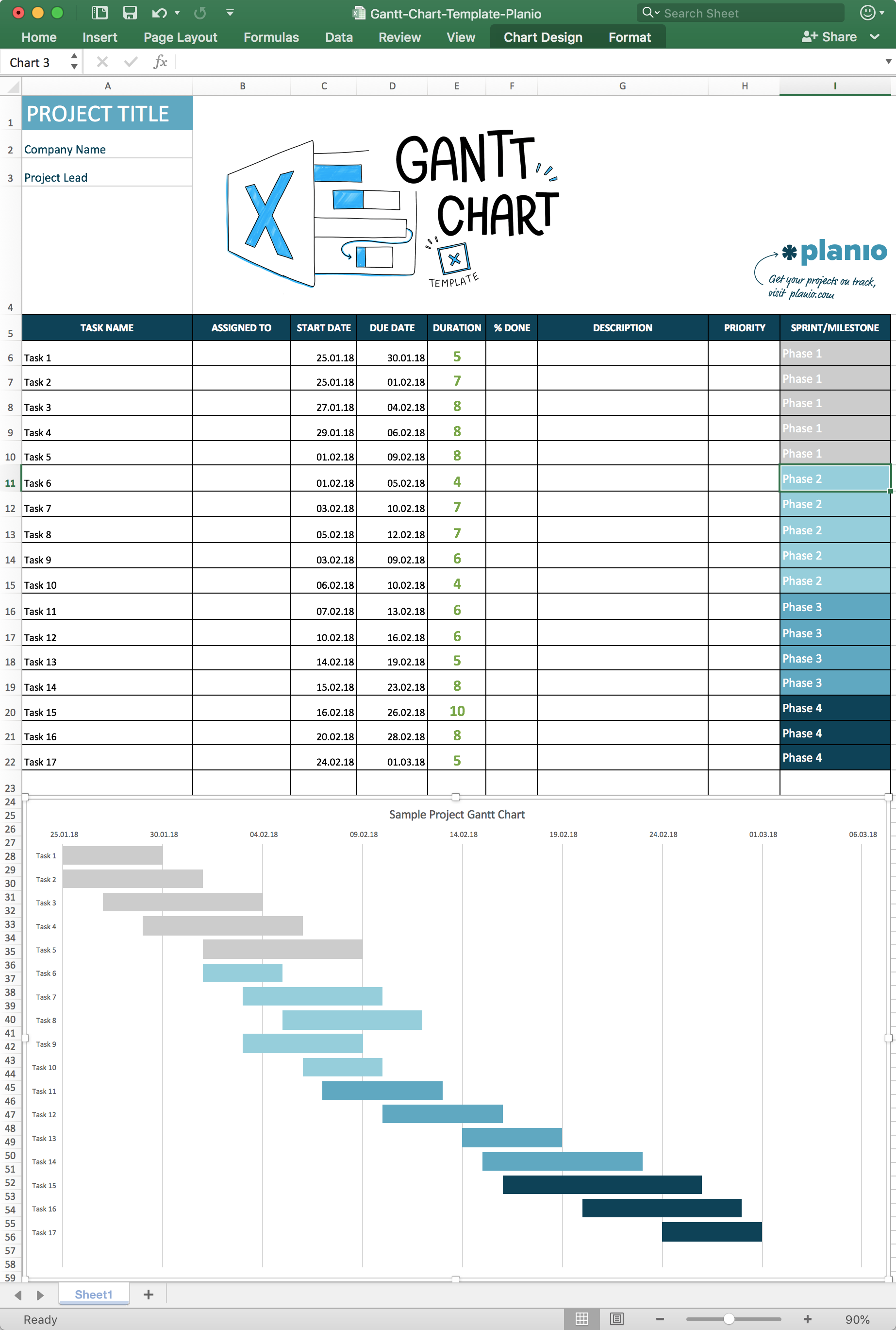 How To Create A Gantt Chart In Excel Free Template And