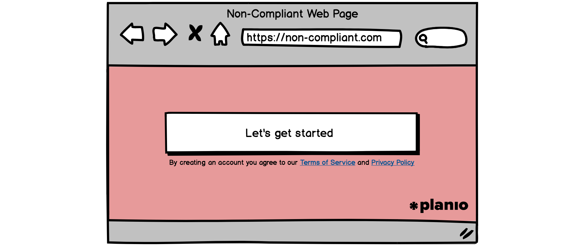 Non-compliant sign-up form