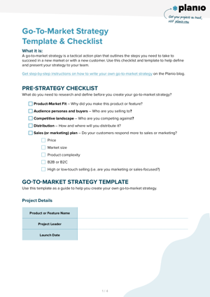 Go to market strategy template and checklist screenshot