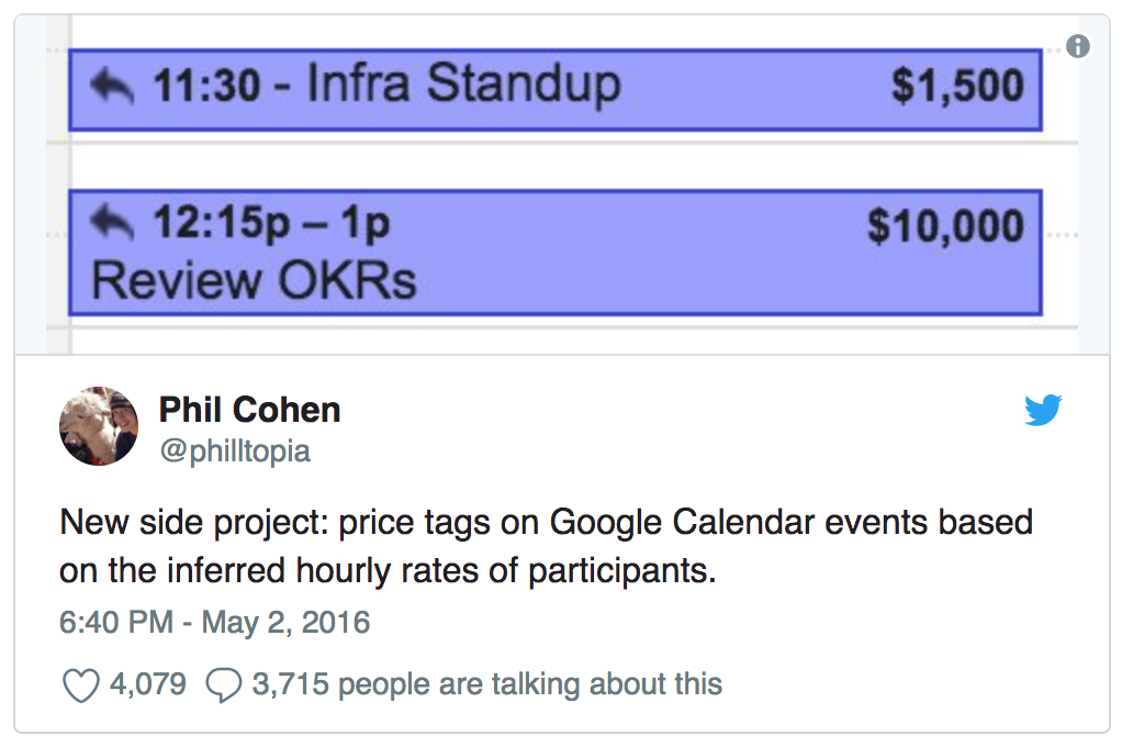 Tweet: New side project: price tags on Google Calendar events based on the inferred hourly rates of participants.