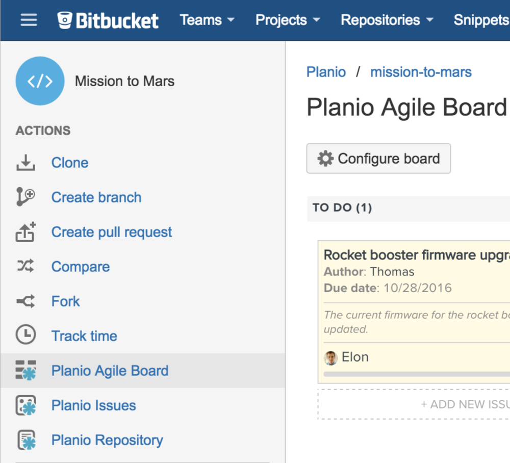 A view of the Planio Agile board in Bitbucket