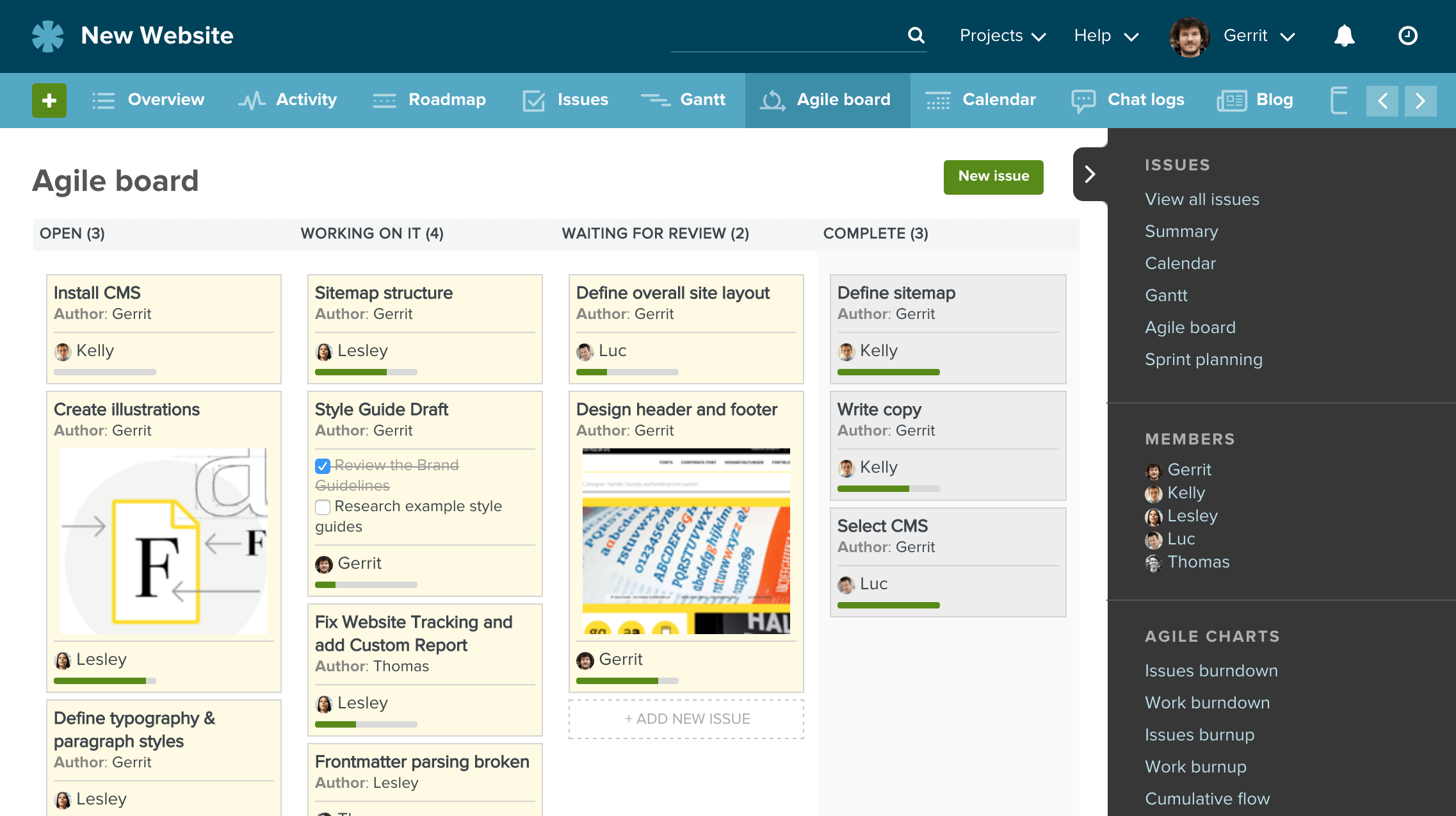 An agile task board in Planio