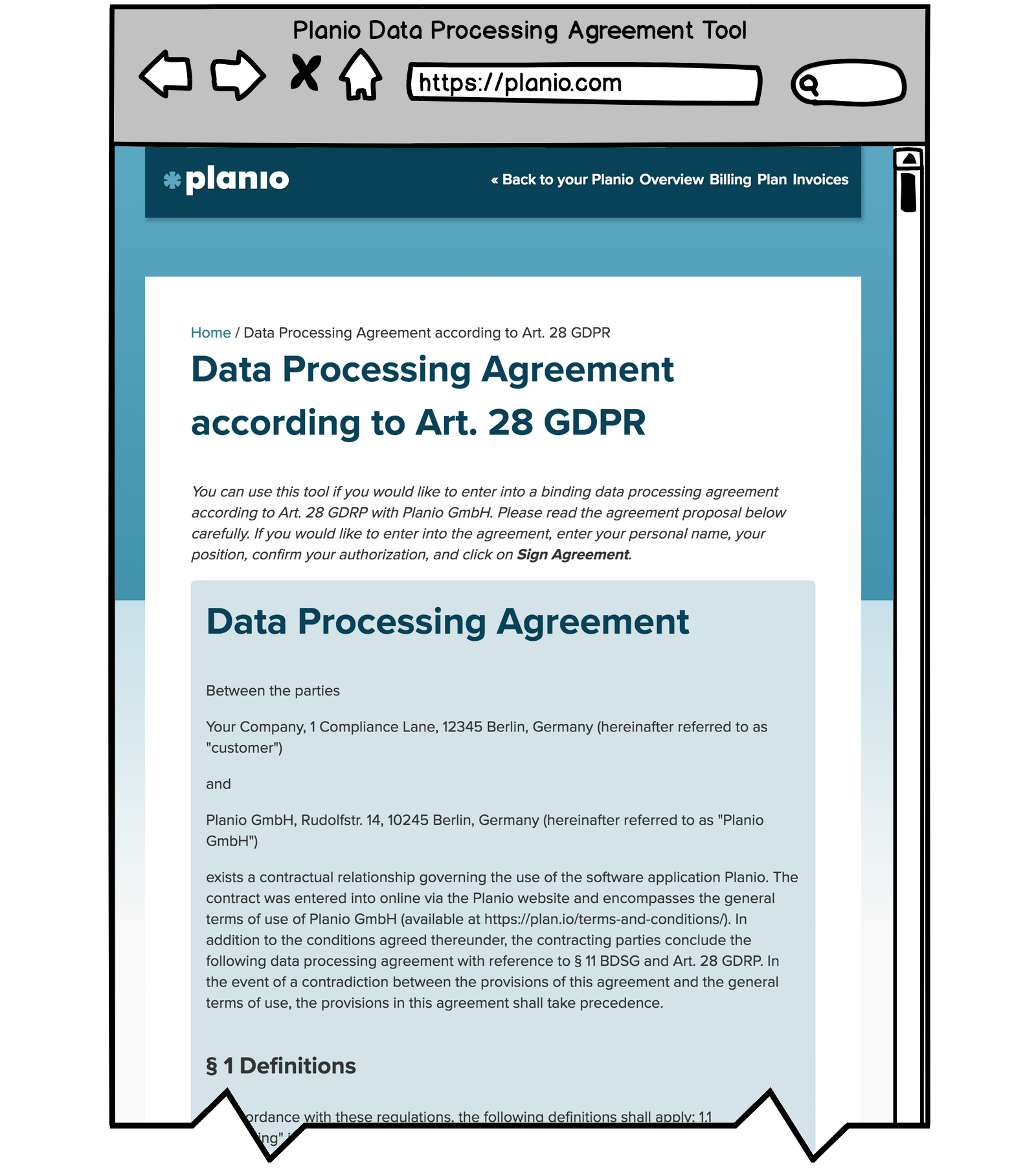 Screenshot of Planio's Data Processing Agreement Tool