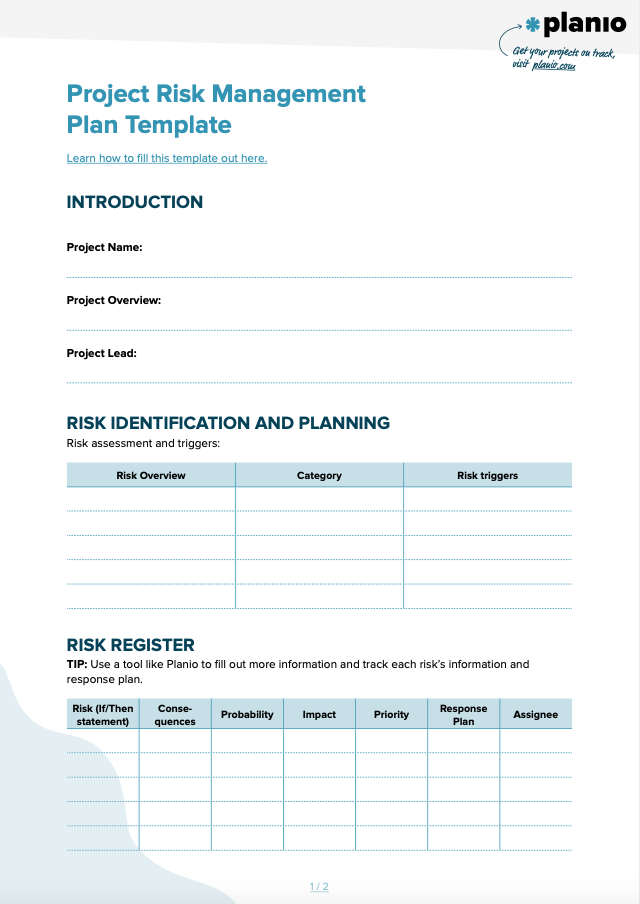 Risk management template screenshot