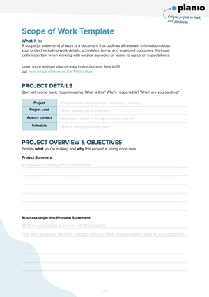Scope of work template screenshot