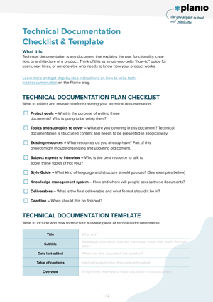 Technical documentation checklist and template screenshot