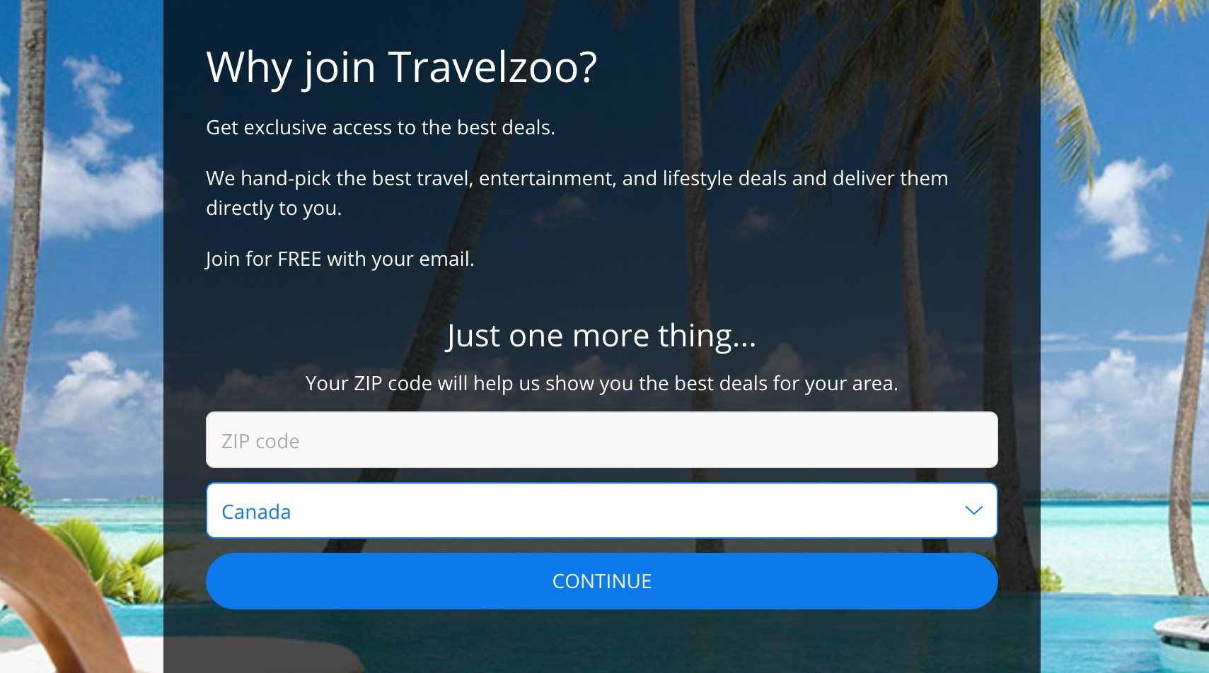 TravelZoo Signup Form