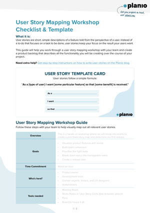 User story mapping workshop template and checklist screenshot