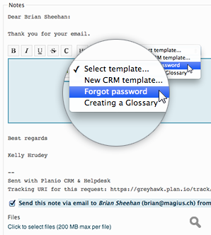 Replying to a customer using a CRM template