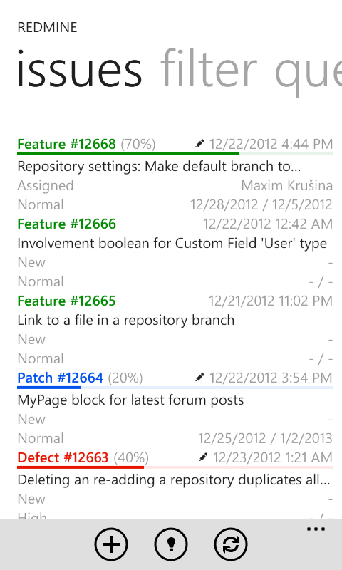 Listing issues with Redmine To Go