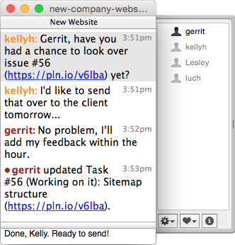 "Team Chat in <a href=""http://colloquy.info/"">Colloquy</a> für den Mac"