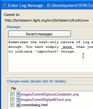The TortoiseSVN Commit Dialog interface